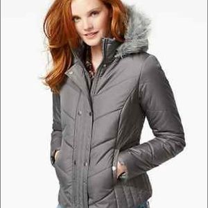 Krush GRAY Faux Fur Trim Hooded Puffer Jacket M
